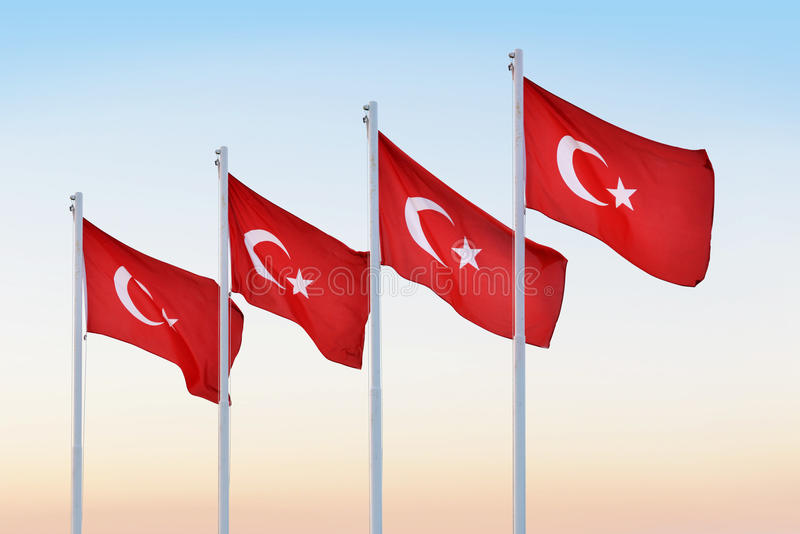 flags turk royaltyfri bild