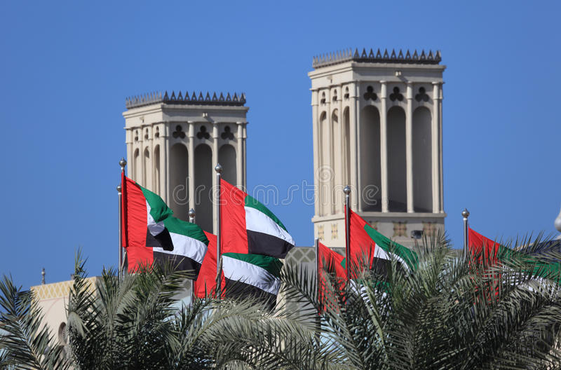 Flags of the UAE. Flags of the United Arab Emirates in Sharjah City royalty free stock images
