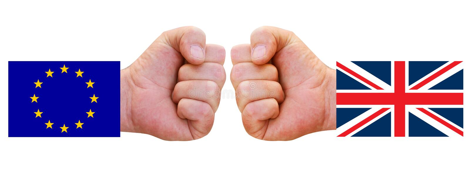Flags of UK and EU with clenched fists punching out against each other. Brexit concept. Symbolizing conflict between European unio. N and United Kingdom stock photos