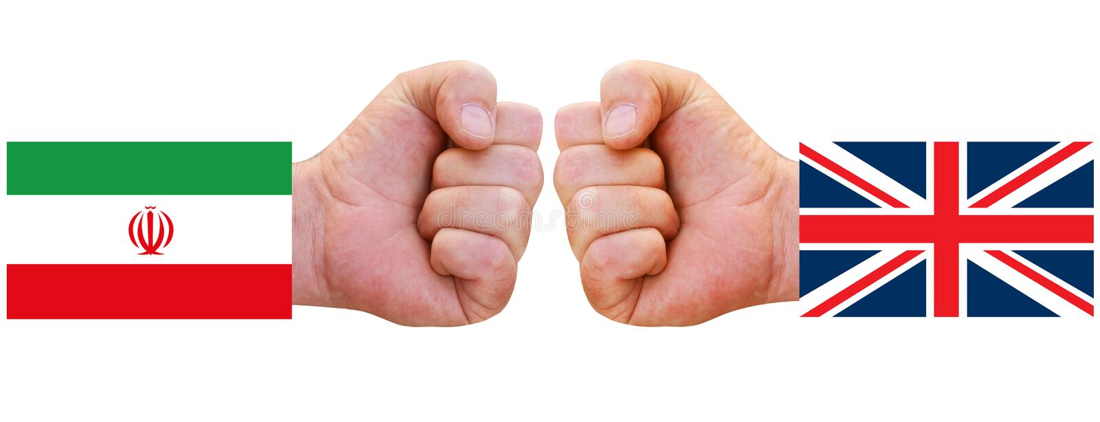 Flags of UK and Iran with clenched fists punching out against each other. Symbolizing conflict between Iran and United Kingdom - E. Ngland. Isolated on white stock photos