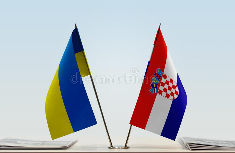 Flags of Ukraine and Croatia royalty free stock photography