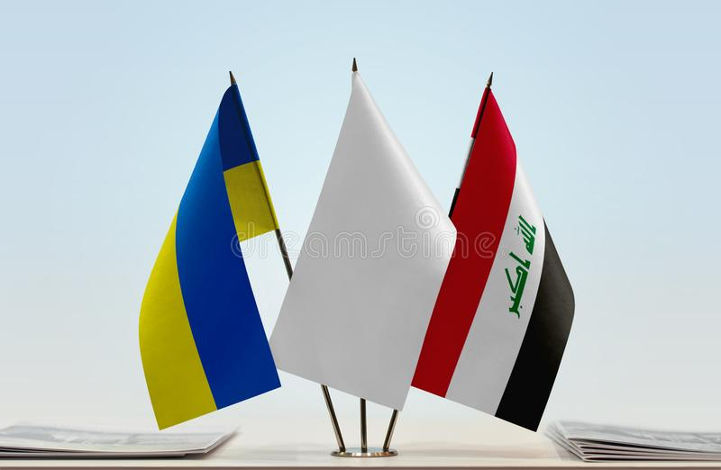 Flags of Ukraine and Iraq stock image