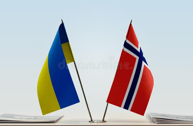 Flags of Ukraine and Norway royalty free stock image