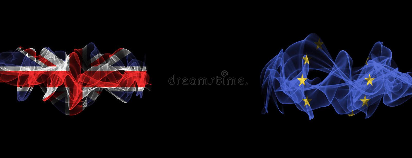 Flags of Union Jack and EU on Black background, Union Jack vs Europe Union Smoke Flags. Flags on Black background royalty free stock image