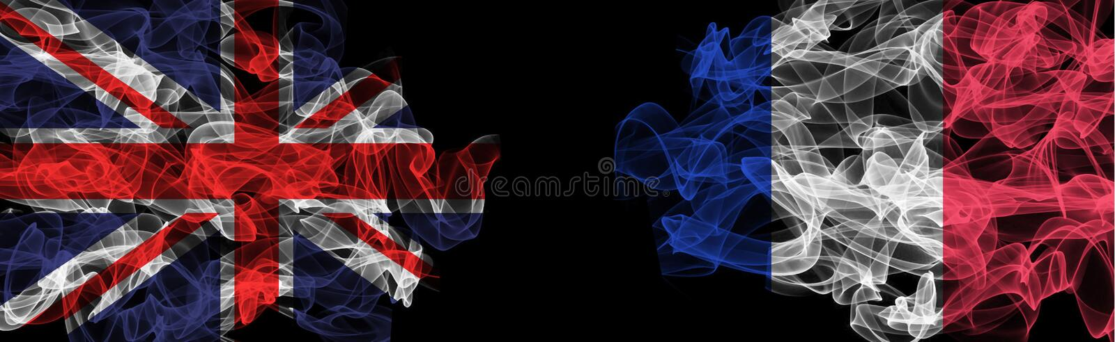 Flags of Union Jack and France on Black background, Union Jack vs France Smoke Flags. Flag on Black background royalty free stock photography
