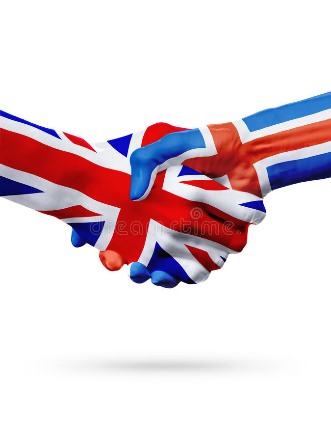 Flags United Kingdom, Iceland countries, partnership friendship handshake concept. Flags United Kingdom, Iceland countries, handshake cooperation, partnership stock photo