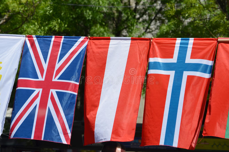 The flags of United Kingdom, Latvia and Norway. The flags of United Kingdom, Latvia, Norway stock photography
