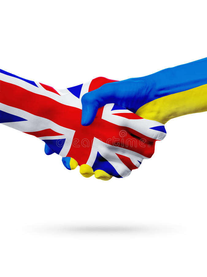 Flags United Kingdom, Ukraine countries, partnership friendship handshake concept. Flags United Kingdom, Ukraine countries, handshake cooperation, partnership royalty free stock photography