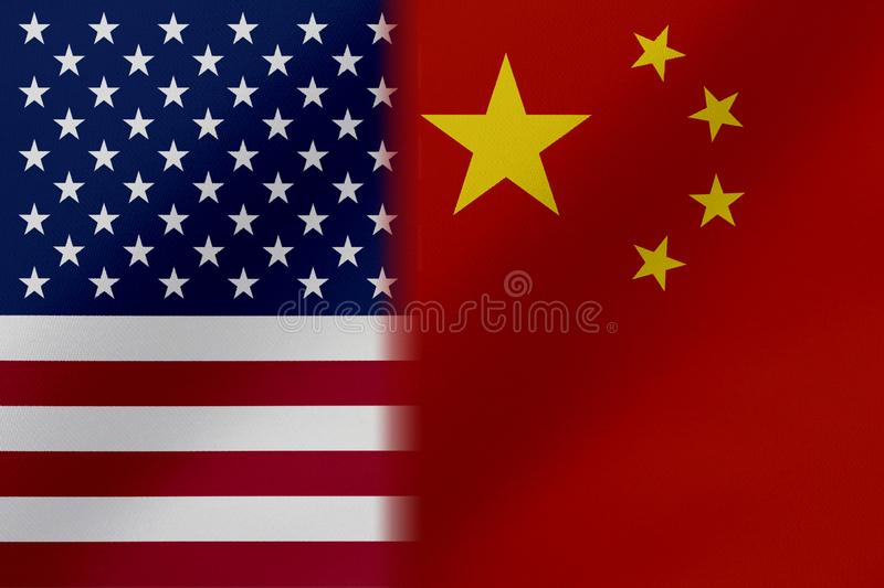 Flags of   United States of America AND CHINA  that come together showing a concept that means trade, political or other relations. Hips between the two nations vector illustration