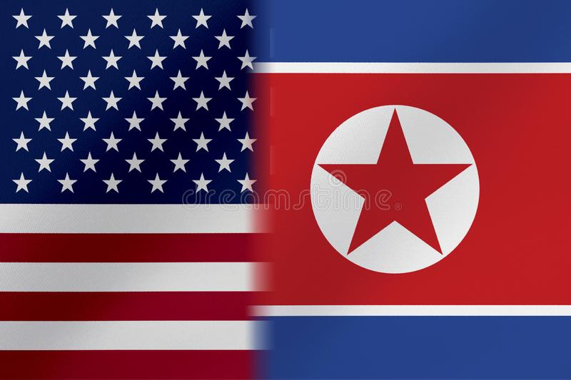 Flags of   United States of America AND NORTH KOREA that come together showing a concept that means trade, political or other rela. Tionships between the two royalty free illustration