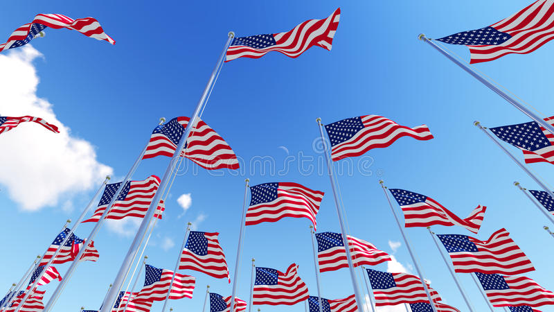 Flags of United States of America USA against blue sky. stock illustration