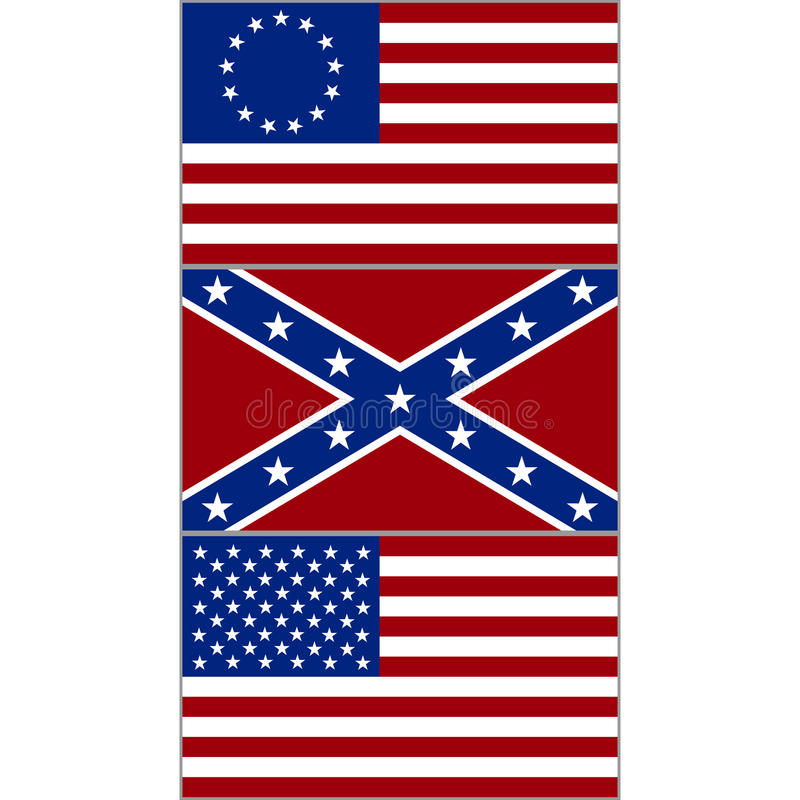 Flags of the United States. Flags of the Confederacy, and the United States during the American Civil War. The illustration on a white background vector illustration