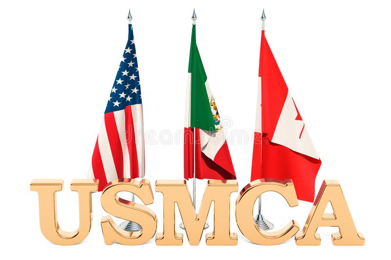 Flags of the United States, Mexico and Canada, USMCA agreement c royalty free illustration