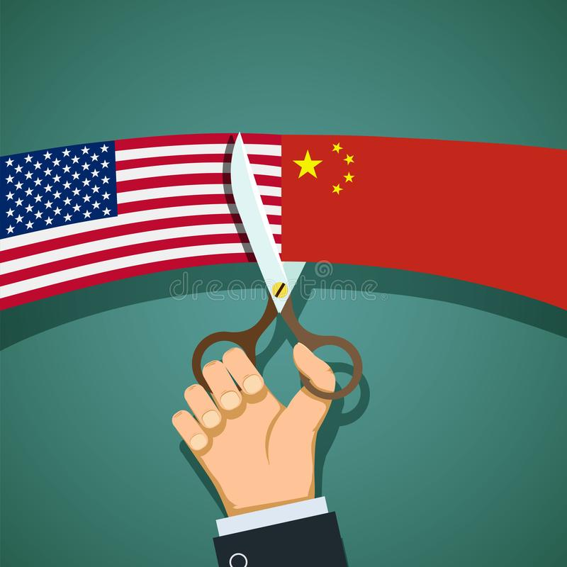 Flags of US and the China vector illustration
