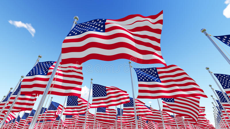 Flags of USA against blue sky. royalty free illustration