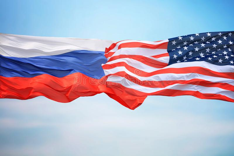 Flags of the USA and Russia royalty free stock photography