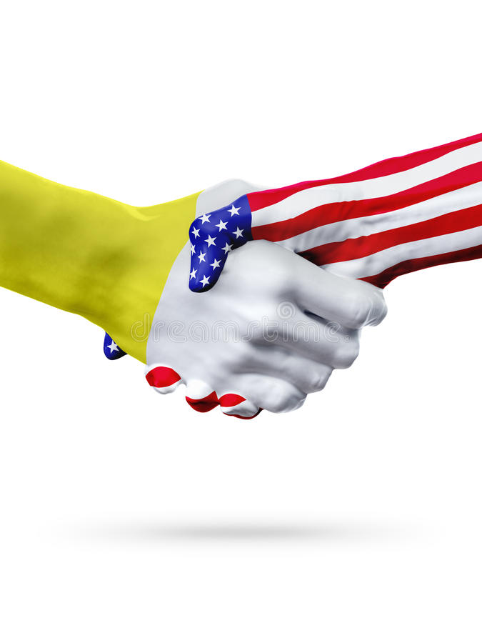 Flags Vatican City, United States countries, overprinted handshake. Flags Vatican City, United States countries, handshake cooperation, partnership and stock image