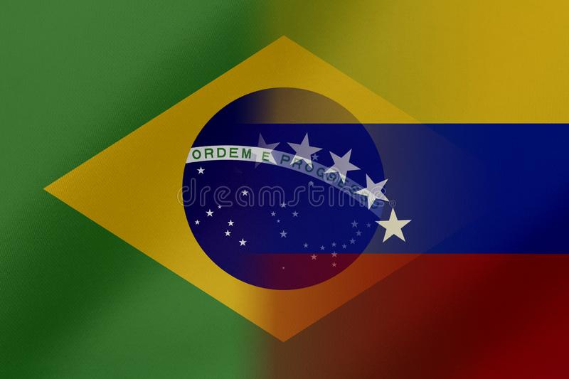 Flags of Venezuela and Brasil that come together showing a concept that means trade, political or other relationships between the. Two nations stock illustration