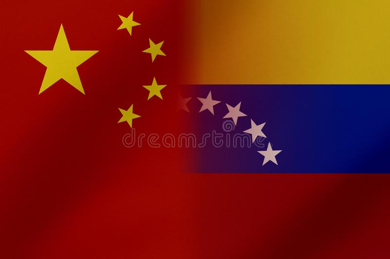 Flags of Venezuela and China that come together showing a concept that means trade, political or other relationships between the t. Wo nations stock illustration