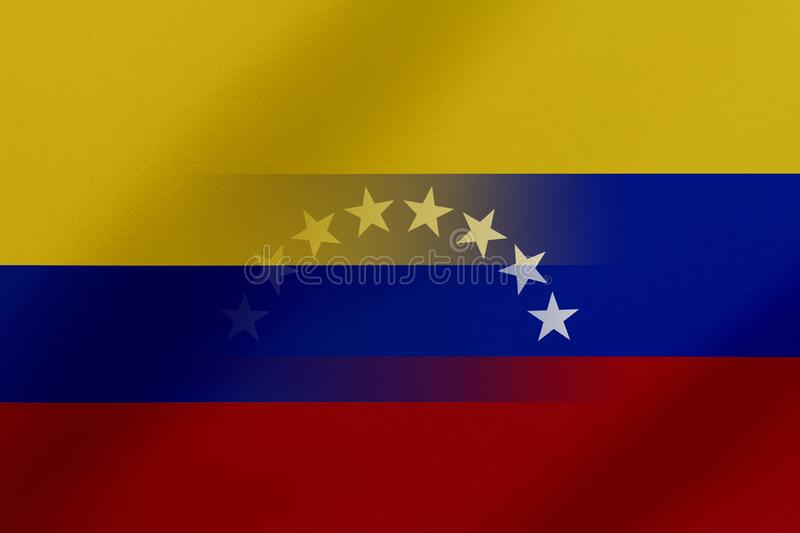 Flags of Venezuela and colombia that come together showing a concept that means trade, political or other relationships between th. E two nations stock illustration