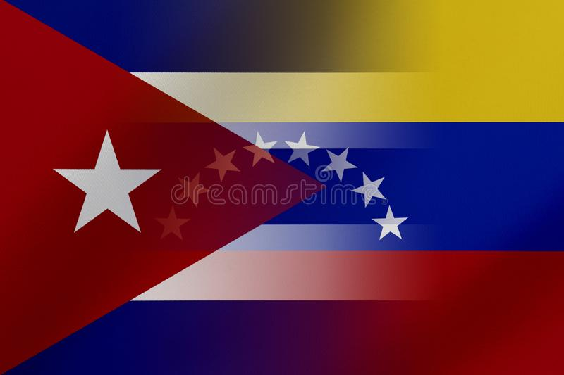 Flags of Venezuela and Cuba that come together showing a concept that means trade, political or other relationships between the tw. O nations vector illustration