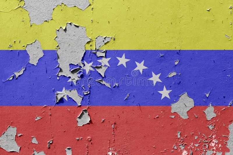 Venezuela flag. Flags of Venezuela is painted on brick wall background stock photography