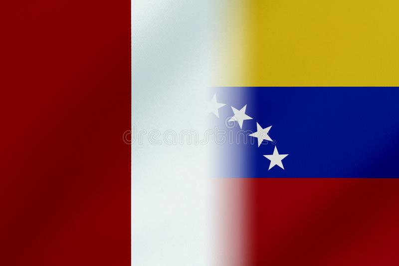Flags of Venezuela and peru that come together showing a concept that means trade, political or other relationships between the tw. O nations vector illustration