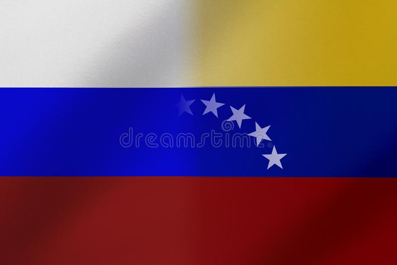 Flags of Venezuela and Russia that come together showing a concept that means trade, political or other relationships between the. Two nations stock illustration