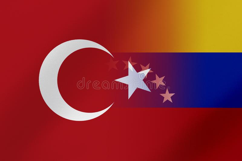 Flags of Venezuela and Turkey that come together showing a concept that means trade, political or other relationships between the stock photography