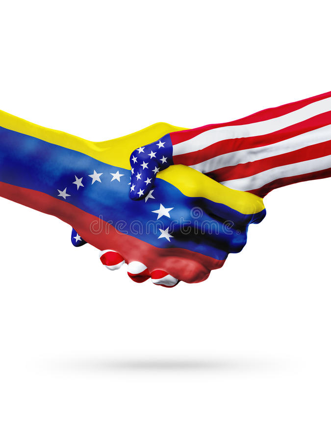Flags Venezuela and United States countries, overprinted handshake. stock photos