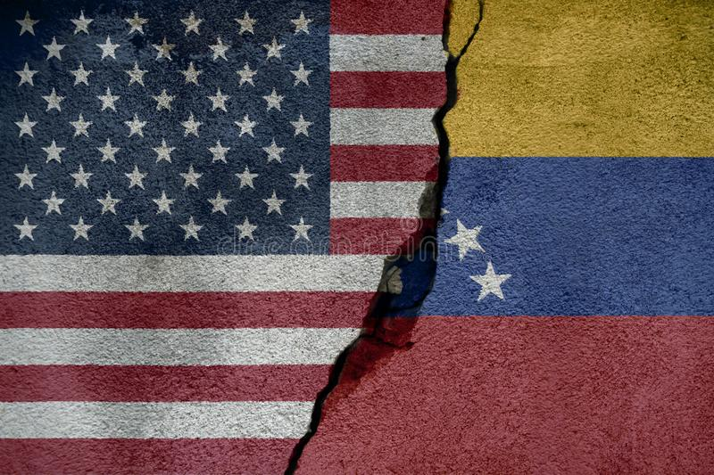 Flags of Venezuela and usa that come together showing a concept that means trade, political or other relationships between the two. Nations vector illustration