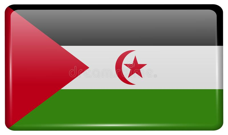 Flags Western Sahara in the form of a magnet on refrigerator with reflections light. royalty free illustration