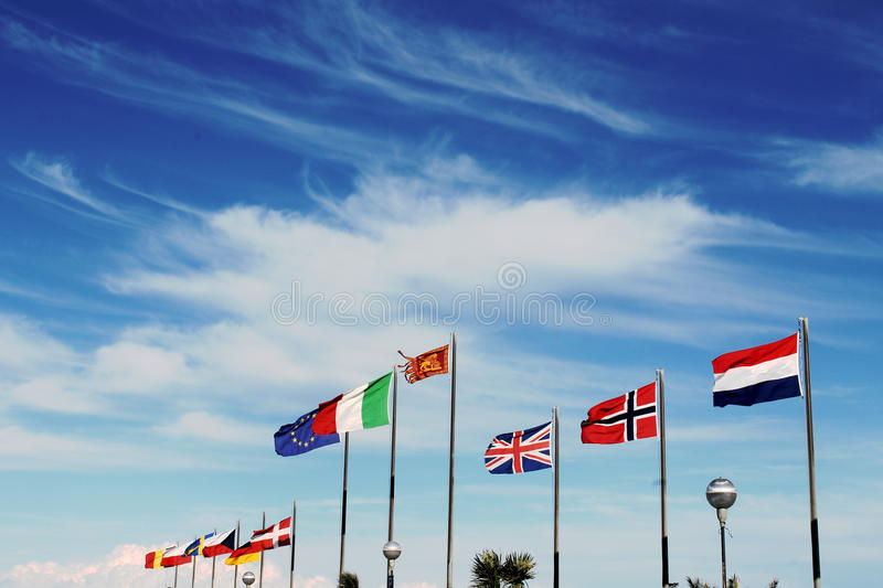 Flags in the wind. Flags fly in the wind stock photography