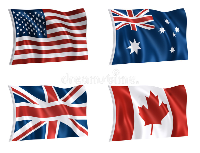 Flags of the world 01. Flags of UK USA canada australia with clipping paths royalty free illustration