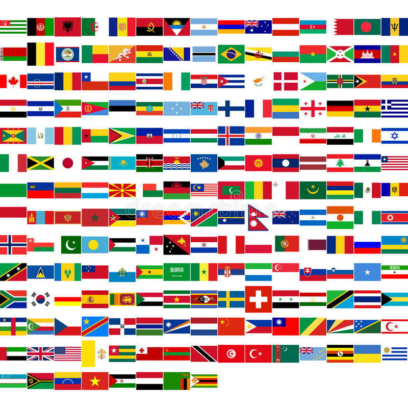 Flags of the world. Including all states from all continents (Europe, America, Asia, Africa, Oceania