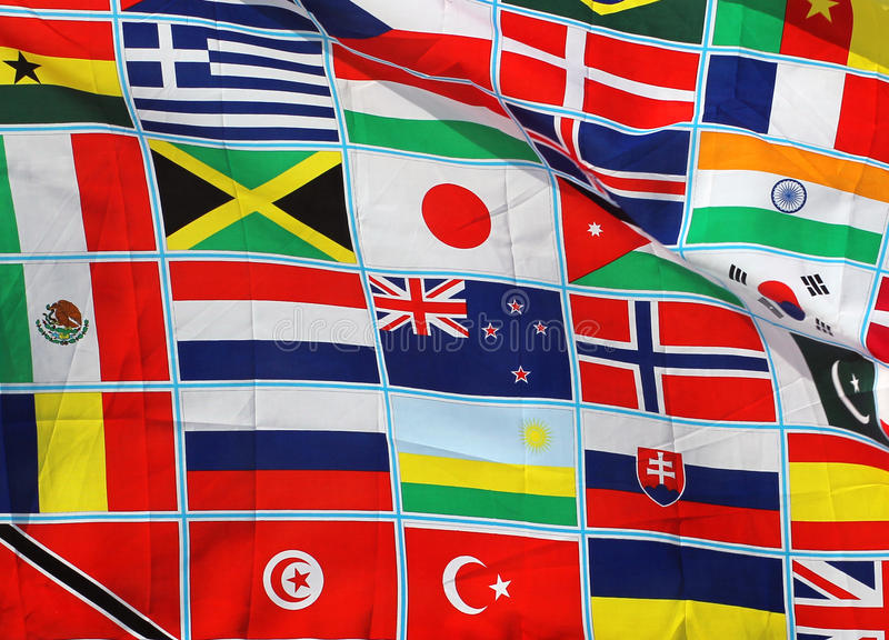 Flags of the world. Abstract background of flags on the world stock photo