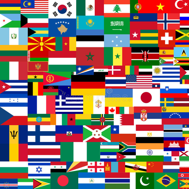 Flags of the World. Completely filled background with random flags from around the world in different sizes