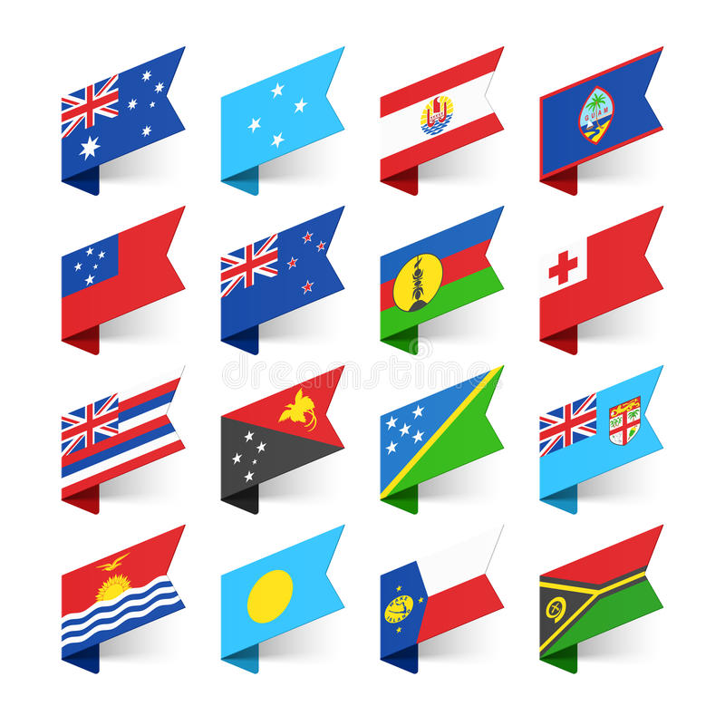 Flags of the World, Australasia. Flags of the World, Oceania illustration