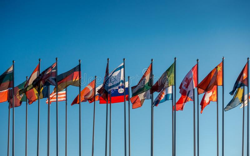 Flags of the world. On the background of blue sky royalty free stock photography