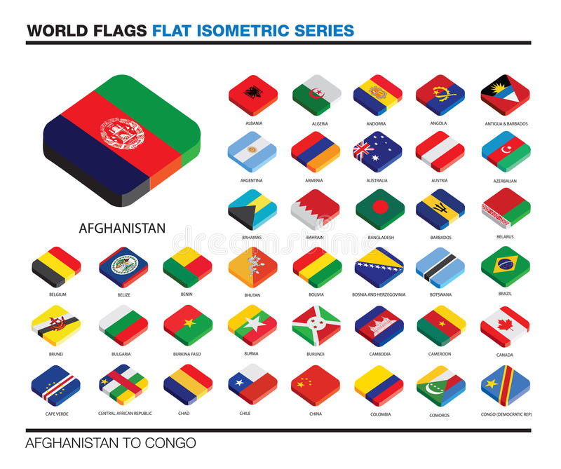 Flags of the world, a-c, 3d isometric flat icon d. Isolated world flags in flat colour on a white background, part of a series stock illustration