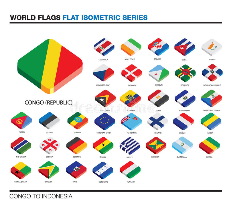 Flags of the world, c-i, 3d isometric flat icon d vector illustration