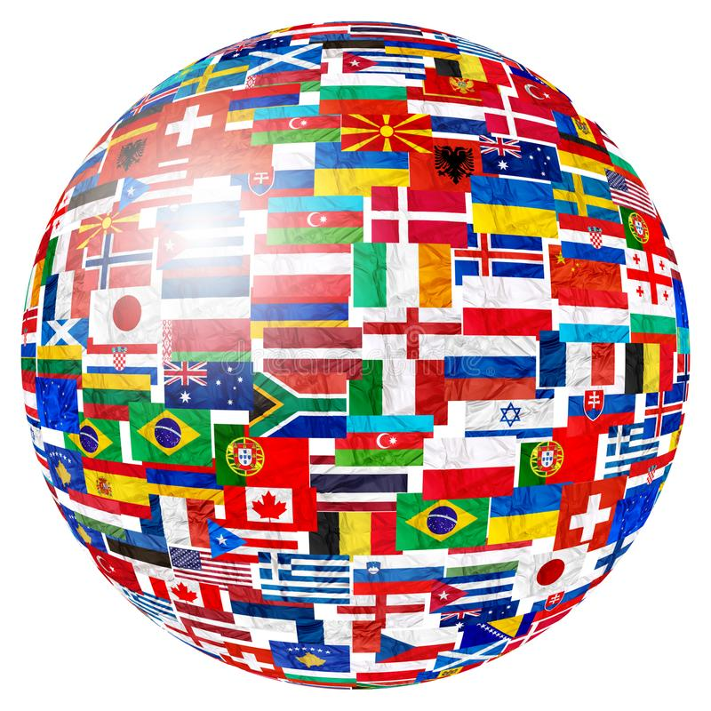 Flags of world globe. Flags of world countries and in sphere globe shape on white background: England Russia Italy Spain Scotland Germany US, China Greece France stock photography