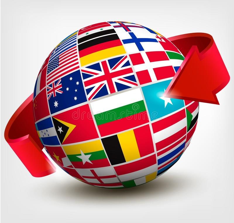 Flags of the world in globe with an arrow. stock illustration