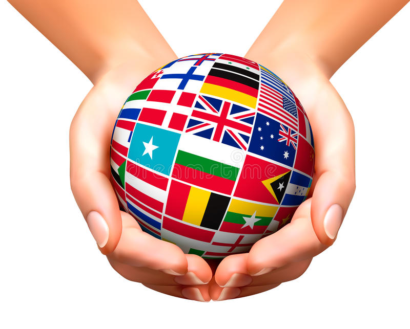 Flags of the world in globe and hands. royalty free illustration