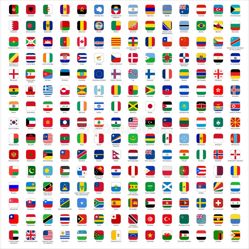 Flags of the World - icons. Rounded Rectangles Flags of the World with Official RGB Coloring and detailed emblems. industry standard dimensions