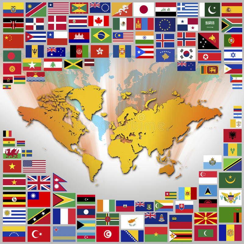 Flags and World Map. National Flags and Map of the World stock illustration