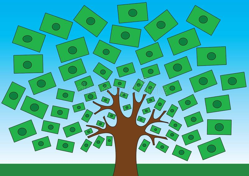 Money does grow on trees funny vector illustration royalty free illustration