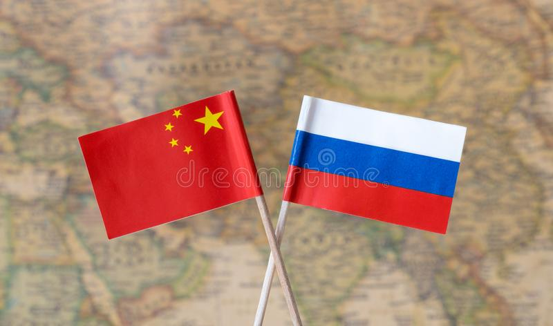 Flags of russia and china over the world map political leader download flags of russia and china over the world map political leader countries concept image gumiabroncs