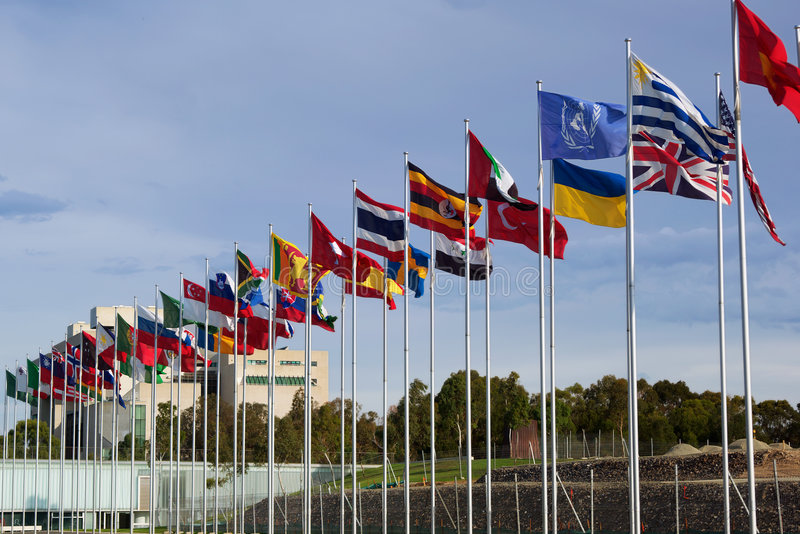 Flags of the world in row royalty free stock photo