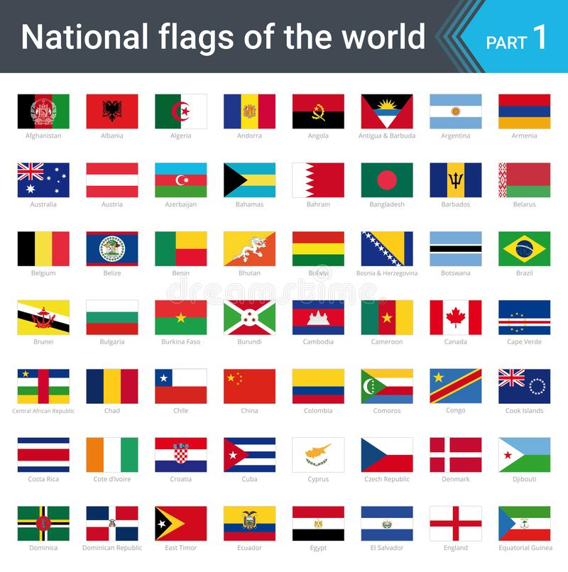 Flags of the world. Vector illustration of a stylized flag isolated on white stock illustration